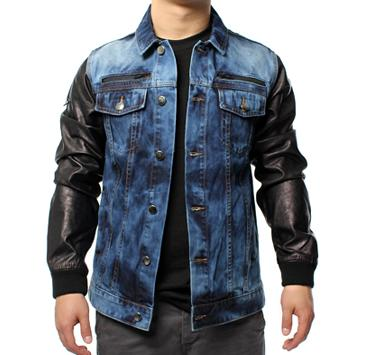 Mens leather arm denim jacket – Modern fashion jacket photo blog